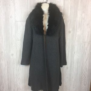 Umgee Faux Fur Collar Gray Duster Cardigan  Sz L
